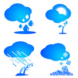 Set of weather and season icons.