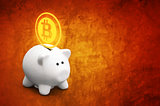 Saving bitcoins in piggy coin bank