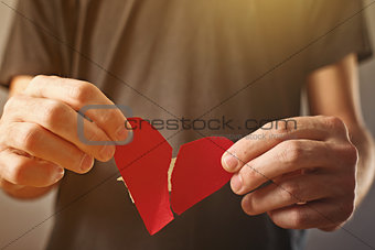 Broken hearted. Valentines day concept.