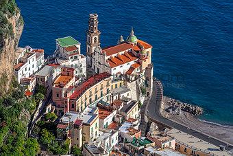 Touristic city of Atrani on the Italy's Amalfi Coast.