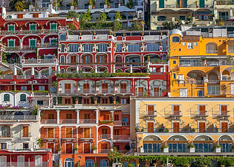 Positano's buildings seen from the sea.