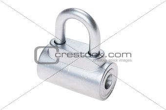 chrome metal padlock on white