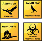 Set of vector Avian flu alerts icons