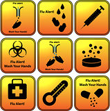 Set of vector flu alert icons