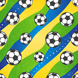 Seamless football pattern against the colors of the Brazilian flag