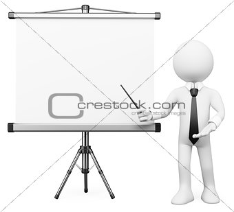 3D white people. Projection screen
