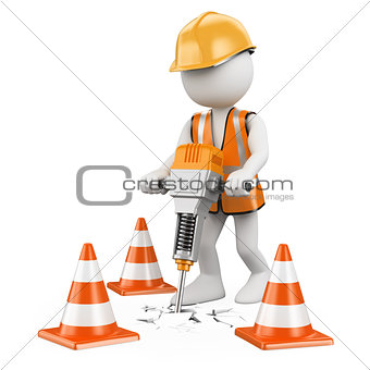 3D white people. Worker with a jackhammer