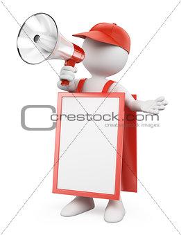 3D white people. Blank sandwich board man with a megaphone