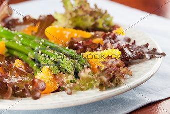 Asparagus salad with oranges and hemp seeds