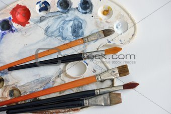 Artistic brushes and colors