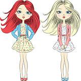 Vector cutel fashion girls  in summer dress
