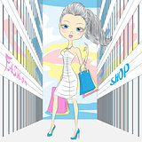 Vector beautiful fashionable girl shopping