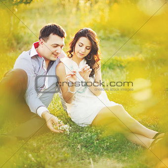Couple having date, spending great time in garden.