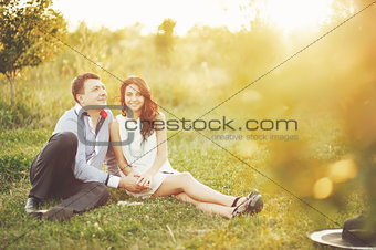 couple together spending great time in garden