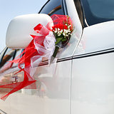 Decorated wedding car