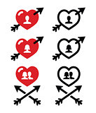 Man and woman, couples in Hearts with arrow, valentines icons set