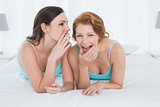 Female friends in tank tops gossiping in bed