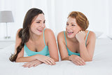 Cheerful female friends in teal tank tops lying in bed