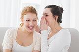 Happy female friends gossiping in living room