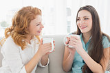 Female friends with coffee enjoying a conversation in the living room