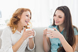 Female friends with coffee enjoying a conversation at home