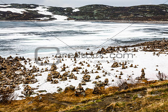 Arctic landscape in Norway on June