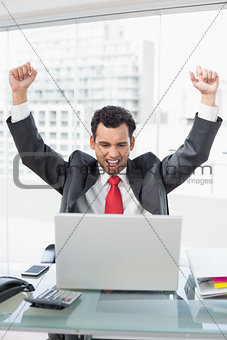 Businessman cheering in front of laptop at office desk