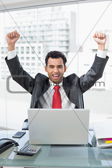 Businessman cheering in front of laptop at office