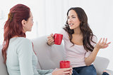 Young female friends enjoying a chat over coffee at home