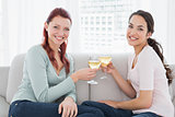 Two happy young female friends toasting wine glasses at home