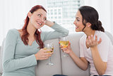 Female friends with wine glasses chatting at home
