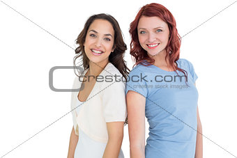 Portrait of two smiling young female friends