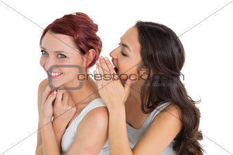 Close-up of two young female friends gossiping