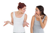 Unhappy young female friends having an argument