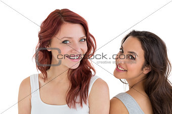 Close-up portrait of beautiful young female friends