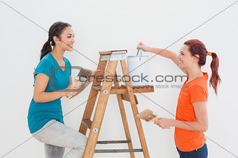 Female friends with paint brushes and ladder