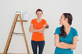 Happy female friends with paint brushes and ladder