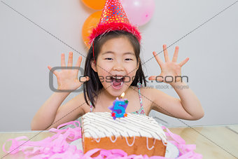 Cheerful little girl at her birthday party