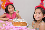 Cute little girls at a birthday party