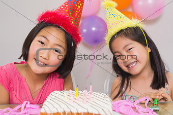 Cute little girls at birthday party