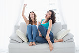 Female friends singing on sofa in the living room