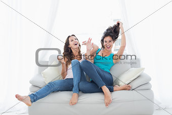 Two cheerful female friends sitting on sofa in living room
