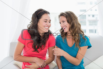 Cheerful young female friends sitting on sofa at home