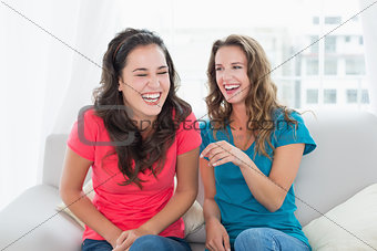 Cheerful friends sitting on sofa in the living room