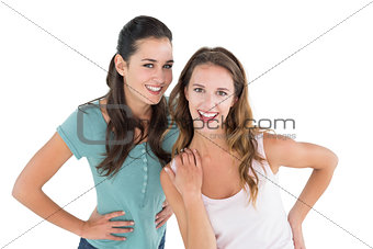 Portrait of two cheerful young female friends