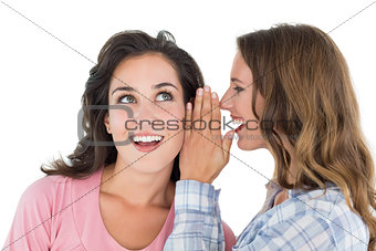 Two cheerful young female friends gossiping