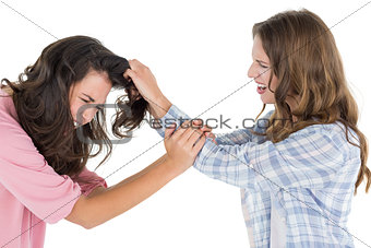 Angry woman pulling females hair in a fight
