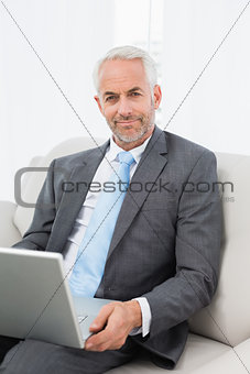 Mature businessman with laptop sitting on sofa