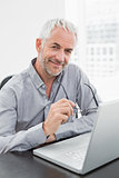 Smiling mature businessman using laptop in office