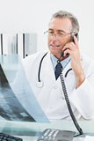 Doctor with x-ray picture while using telephone at office
